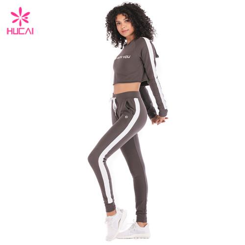 Wholesale Crop Top Hoodie And Jogger Pants Set Loose Fit Women Cotton Yoga Wear