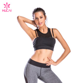 Wholesale Gym Wear Women Sexy Mesh Pannel Strappy Sports Bra