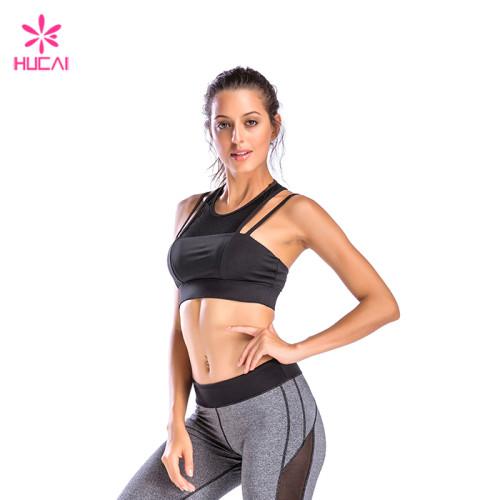Wholesale Gym Wear Women Sexy Mesh Pannel Strappy Sports Bra