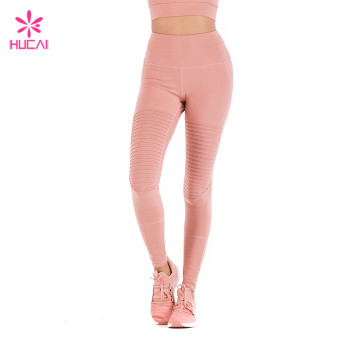 Wholesale Four Needles Six Lines Leggings Women Slim Fit Coral Pleated Yoga Pants
