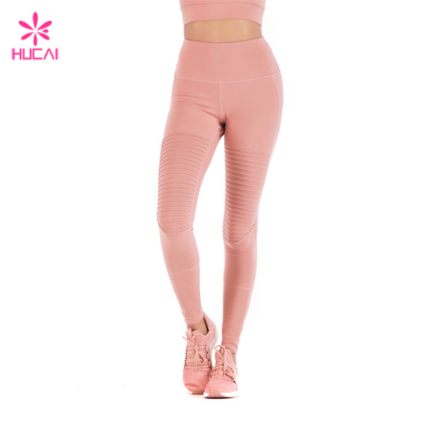 Wholesale Four Needles Six Lines Leggings Women Slim Fit Coral Pleated Yoga Pants