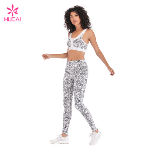 Hucai Wholesale Factory Four Way Stretchy Long Length Sublimation Gym Tights For Women