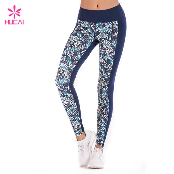 Hucai Sportswear Manufacturer Custom Design Ladies Sublimation Running Tights