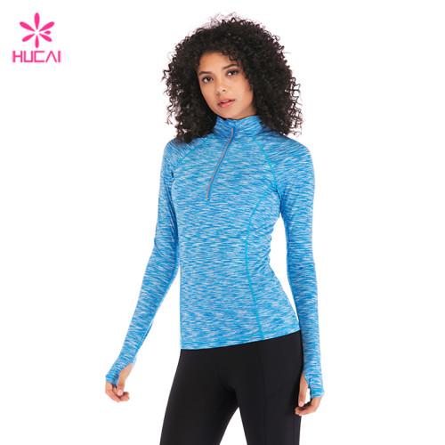Hucai Custom Wholesale Manufacturer Dry Fit Fashion Space Dye Half Zip Gym Jacket