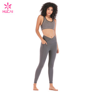 Hucai China Factory Yoga Wear Women Wholesale Sportswear Set