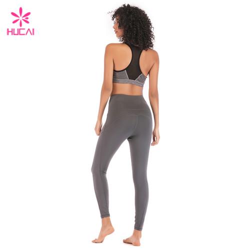 Hucai China Factory Yoga Wear Women Wholesale Sportswear Set