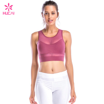 Hucai China Factory Nylon Spandex Mesh Wholesale Supplier Custom Sports Bra Manufacturer