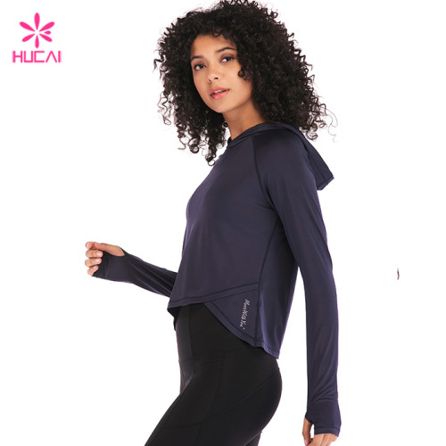 Hucai Wholesale Plain Sportswear Women Custom Hooded Crop Hoodie Manufacturer