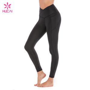 Hucai China Manufacturer Custom Black Leggings Wholesale Yoga Clothing With Side Pockets