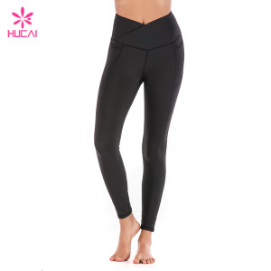 Hucai China Manufacturer Custom Black Leggings Wholesale Yoga Clothing With Side Pockets