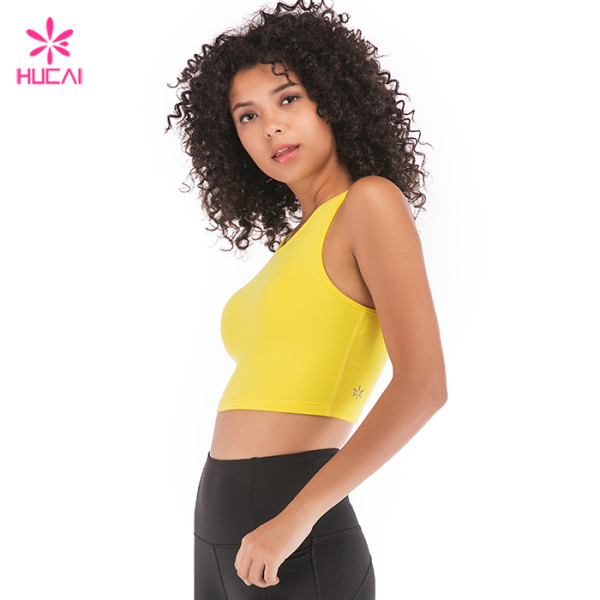 b906590eb58bc China Manufacturer Hucai Sportswear Wholesale Women Plain Customized Crop  Top Supplier