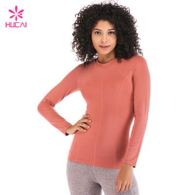 Wholesale Hucai Manufacturer China Custom Cotton Spandex Women Long Sleeve T Shirt Supplier