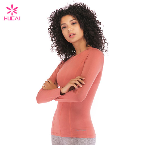 Wholesale Hucai Manufacturer China Custom Cotton Spandex Women Long Sleeve T Shirt Supplier