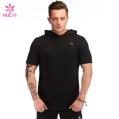 Hucai Wholesale Supplier Mens Sweatshirt Custom Cotton Spandex Short Sleeve Hoodie Manufacturer
