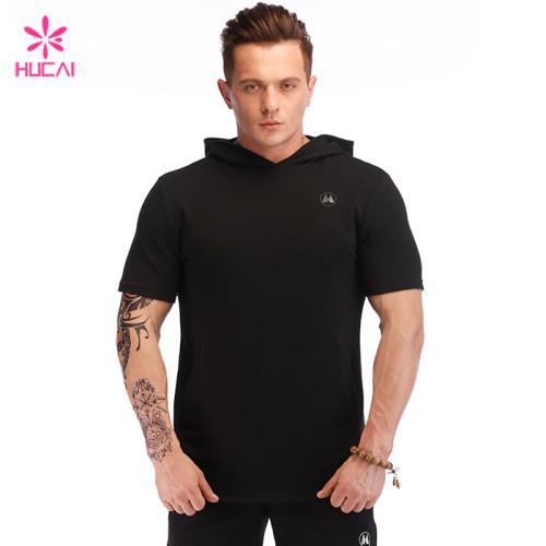 Hucai Wholesale Supplier Mens Sweatshirt Custom Cotton Spandex Short Sleeve Hoodie Manufacturer