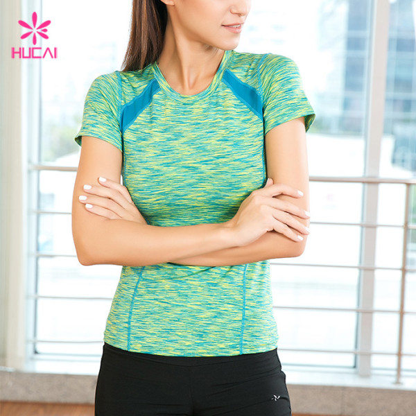 Wholesale Supplier Hucai Women Custom Fitness Shirts Manufacturer