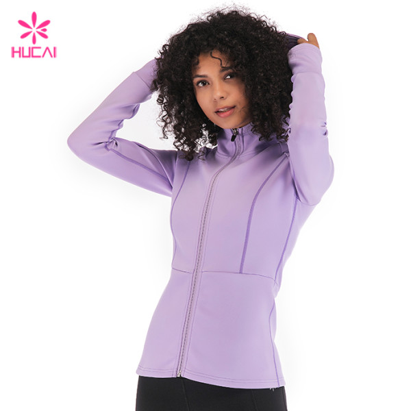 Cheap Wholesale Manufacturer Nylon Spandex Dry Fit Women Custom Yoga Jacket Supplier