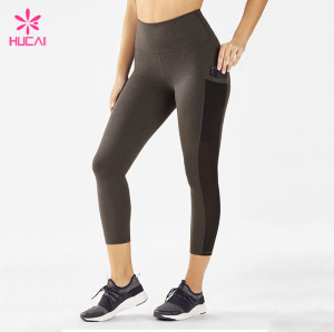 Wholesale Supplier Gym Apparel Capri Leggings Women Mesh Cheap Fitness Clothes Online With Pockets