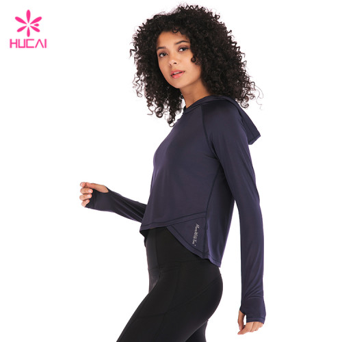 Custom Manufacturer Brand Crop Hoodie Long Sleeve Workout Clothes For Women