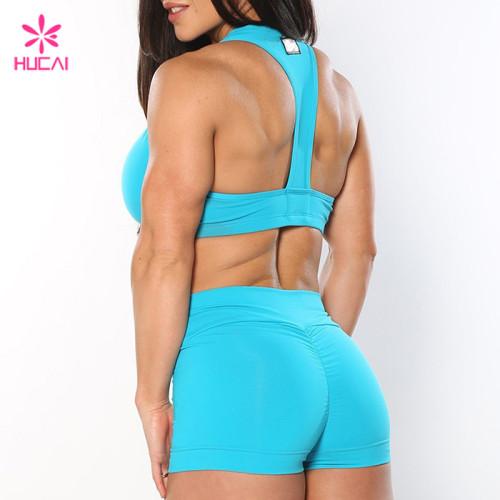 Wholesale Sports Bra And Shorts Nylon Spandex Body Fit Custom Women Yoga Wear Set