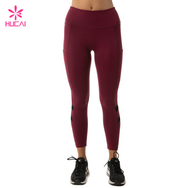 Wholesale Manufacturer Women Sexy Mesh Insert Custom Logo Yoga Leggings