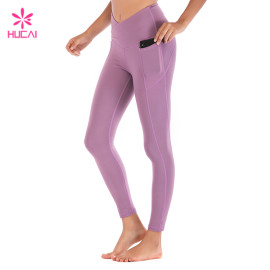 Wholesale Nylon Spandex Leggings With Side Pocket Custom Women Sports Wear Manufacturer