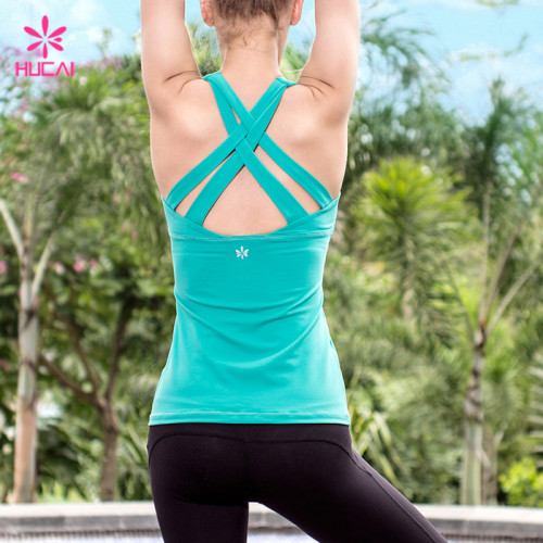 Wholesale Manufacturer Fitness Vest Women Strappy Sexy Yoga Tops With Built In Bra
