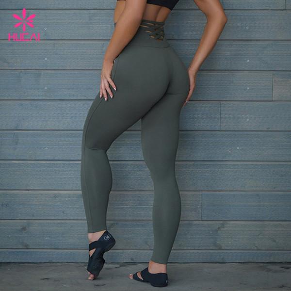 China Factory High Waist Nylon Spandexs Women Leggings Yoga Pants Wholesale