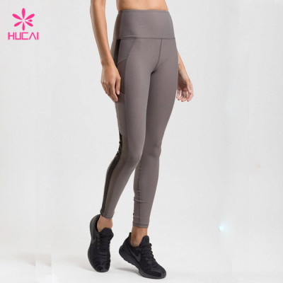China Manufacturer Custom Mesh Insert Women's High Waisted Workout leggings Wholesale In Bulk