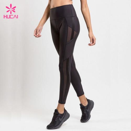 China Manufacturer Custom Mesh Insert Women's High Waisted Workout leggings Wholesale In Bulk
