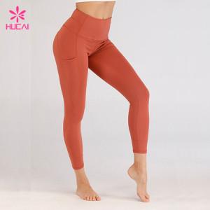 Wholesale 86%Nylon 14%Spandex Fitness Wear With Pockets Women Terracotta Leggings Manufacturer