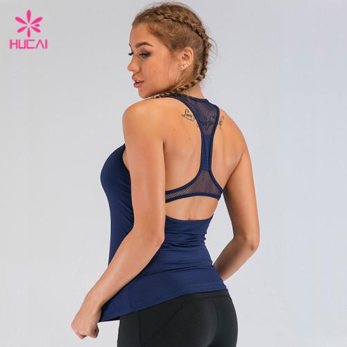 Custom Polyester Spandex Gym Tank Women Mesh Racerback Yoga Top