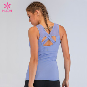 Wholesale Gym Clothing Yoga Wear Women Slim Fit Mesh Tank Top