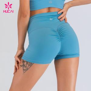 Hucai Bodybuilding Clothing Wholesale Private Label Scrunch Butt Gym Running Yoga Shorts