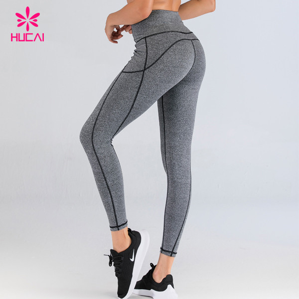Fengcai Custom Design Running Tights With Pockets Fitness Gym Workout Leggings Wholesale