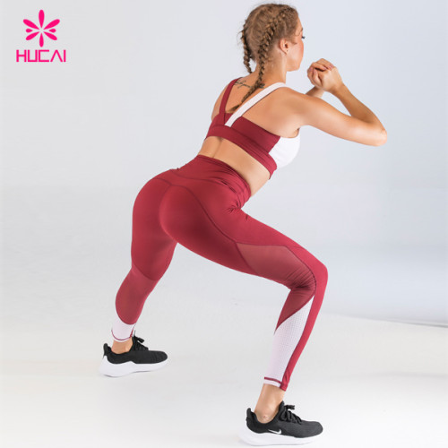 China High Quality Sportswear Mesh Patchwork Womens Custom Logo High Waist Yoga Pants Legging