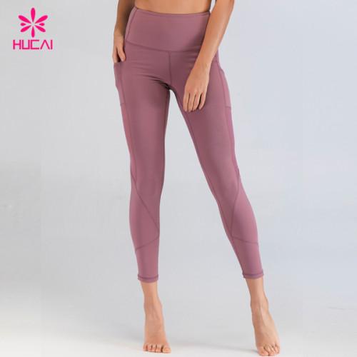 Mesh Panel Side Pocket Wholesale Activewear Womens Fitness Workout Yoga Leggings With Custom Logo