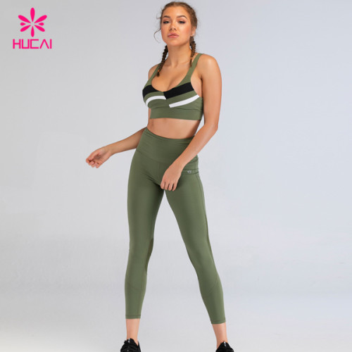 Wholesale Running Wear Custom Yoga Clothes Patchwork Fitness Sports Bra And Workout Leggings Set