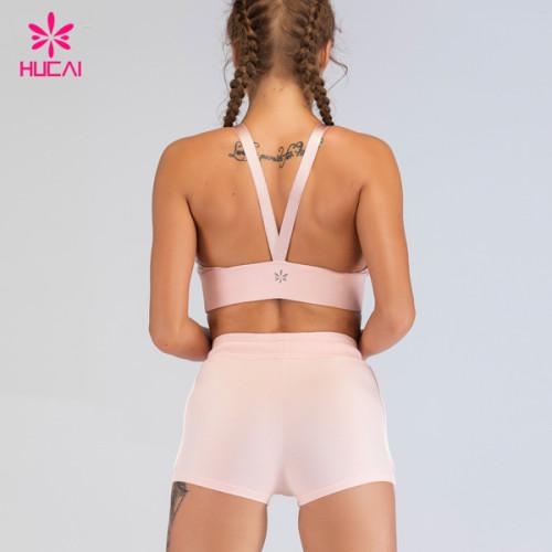 Custom Sportswear Fitness Apparel 2 Piece Sexy Sports Bra High Waist Yoga Shorts Set Women