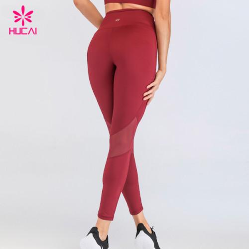 Custom Logo Womens Activewear Polyester Spandex Mesh Yoga Ladies Gym Leggings