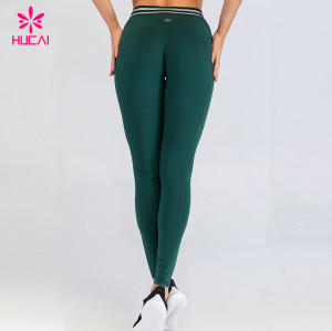 Custom Band Yoga Pants Eco Friendly Womens Private Label Compression Fitness Sport Leggings
