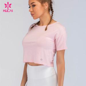 95 Cotton 5 Spandex Plain Tee Shirt Round Neck Workout Gym Womens Crop T Shirts Wholesale