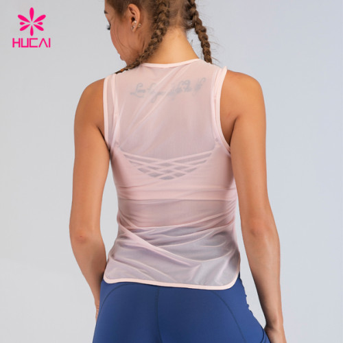 Private Label Ladies Knit Sexy Transparent Tank Tops For Women Sleeveless Athletic Yoga Top In Bulk