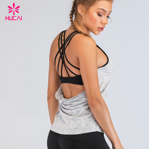 Sports Bra Tank Tops For Women Wholesale China Custom Stringer Yoga Tank Top With Built In Bra