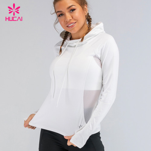 Custom Print Women Sportswear Side Mesh Patchwork Slim Fit Athletic Workout Hoodie With Thumb Hole