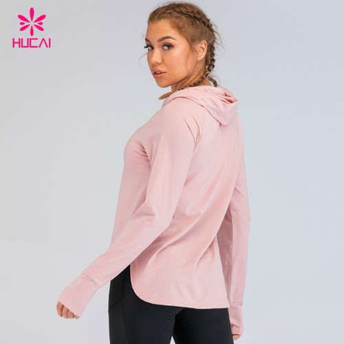 China Hucai Custom Screen Print Cotton Womens Performance Sports Pullover Hoodie Yoga Fitness