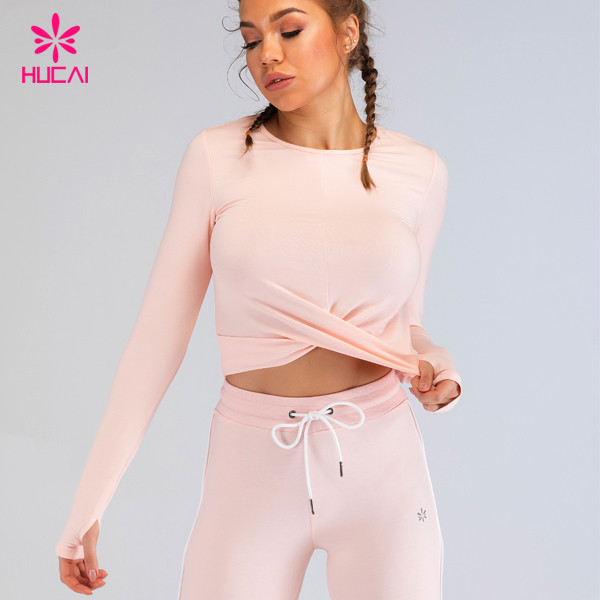 China Custom Activewear Manufacturer Wholesale Long Sleeve Women Crop Running Workout Shirt