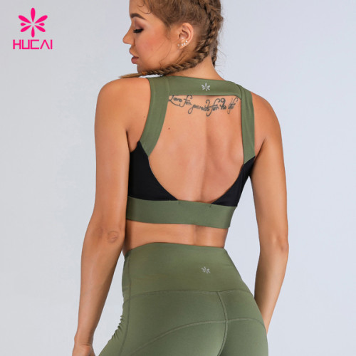 China Custom Activewear Wholesale Push Up Workout Top High Neck Open Back Stretch Sports Bra