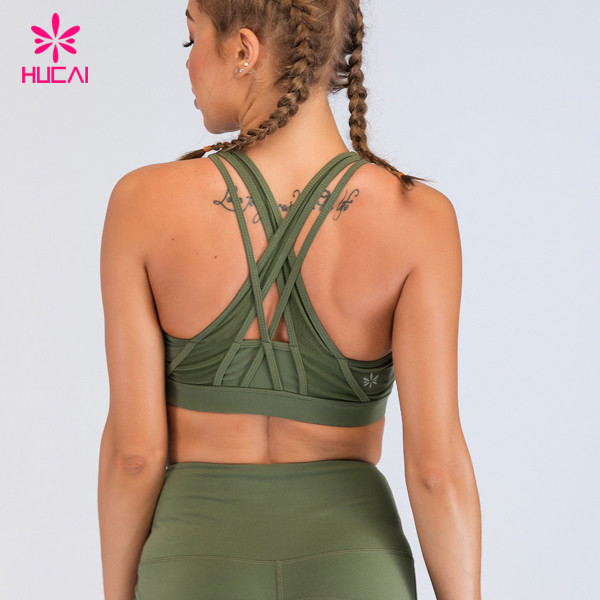 Strappy cross back sports bra