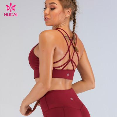 Hucai Custom Activewear Gym Bra Wholesale Criss Cross Yoga Sports Bra Manufacturer